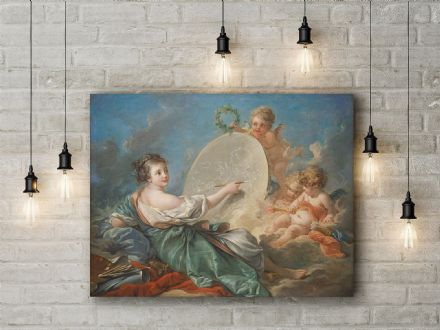 Francois Boucher: Allegory of Painting. Mythological Fine Art Canvas.